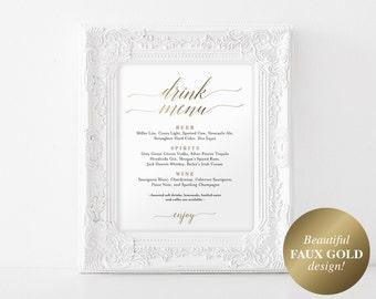 Faux Gold Bar Menu Sign, Drink Menu Sign, Bar Menu Printable, Wedding Sign, Wedding Bar Sign, Drink Menu, PDF Instant Download #BPB324_58B