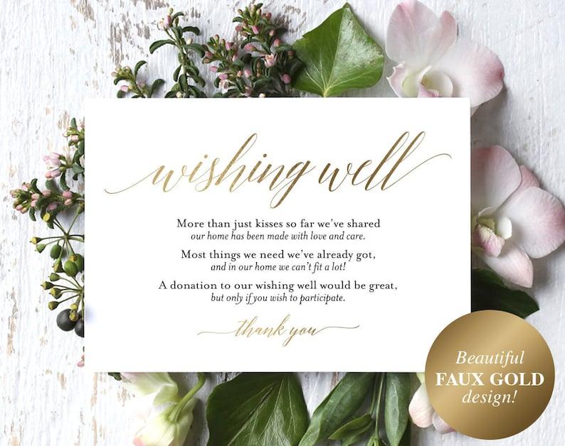 Faux Gold Wishing Well Card Wedding Wishing Well Wishing image 0