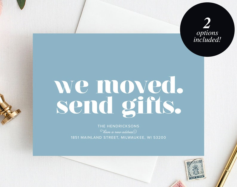 Moving Announcement Printable We Moved. Send Gifts. New Home image 0