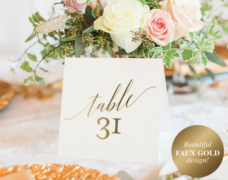 Gold Table Numbers Wedding Table Numbers Table Number image 0