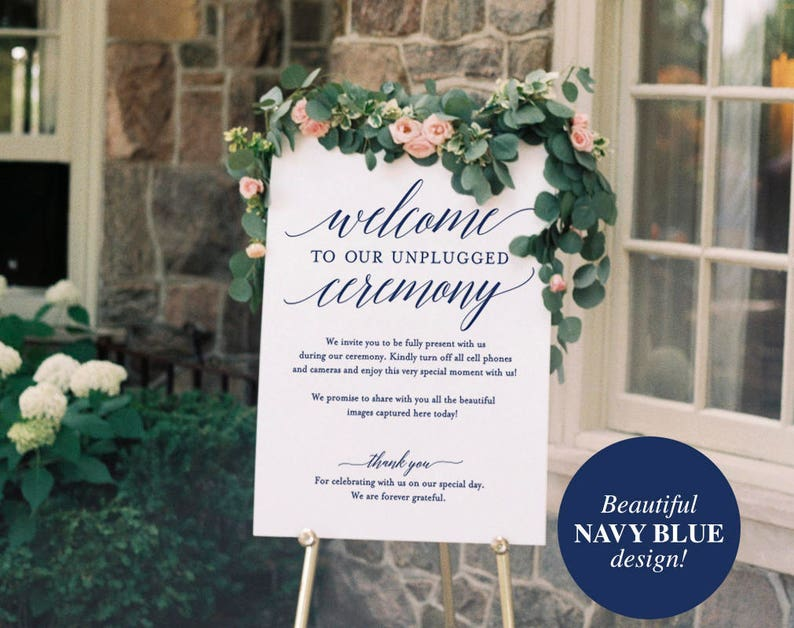 Navy Unplugged Wedding Sign Unplugged Ceremony Sign image 0