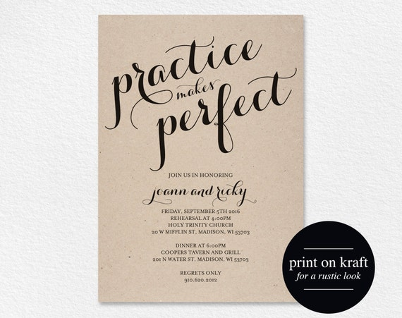 rehearsal dinner invitation practice makes perfect wedding etsy
