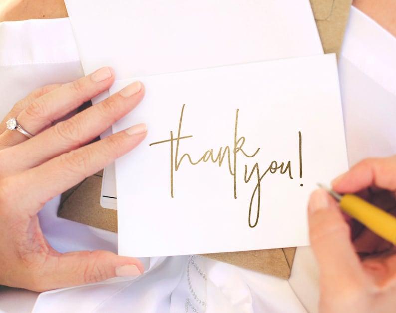 Gold Thank You Card Wedding Thank You Thank You Card image 0
