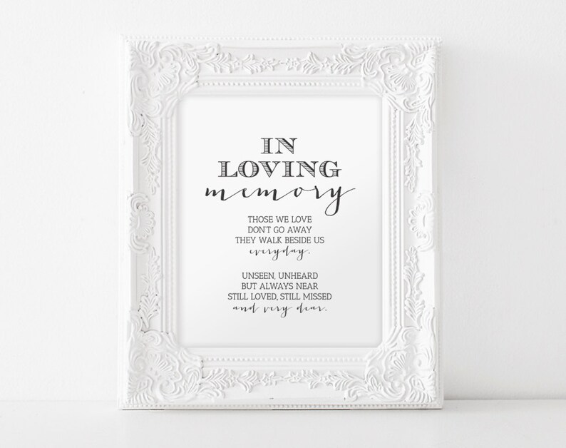 In Loving Memory Printable Wedding Memorial Table Sign image 0