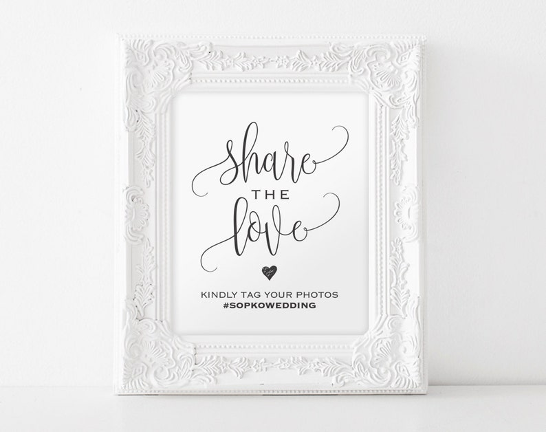 Share The Love Sign Wedding Hashtag Sign Hashtag Printable image 0