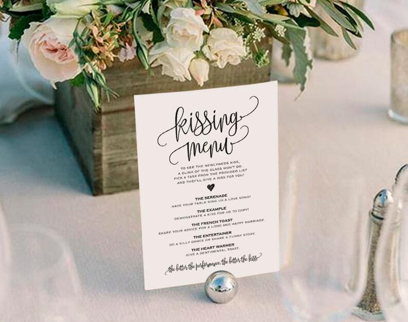 Kissing Menu Printable Wedding Kissing Menu Wedding Game image 0
