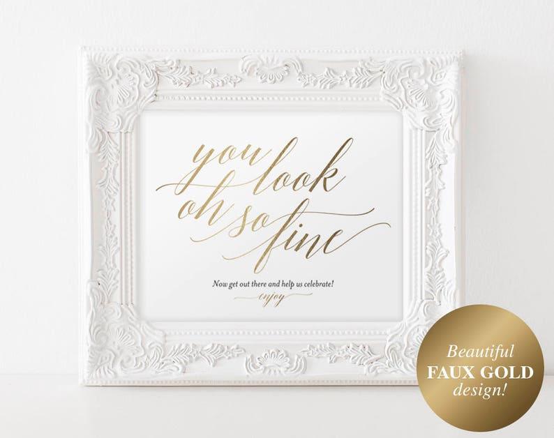 Faux Gold Wedding Bathroom Signs Wedding Sign Wedding image 0