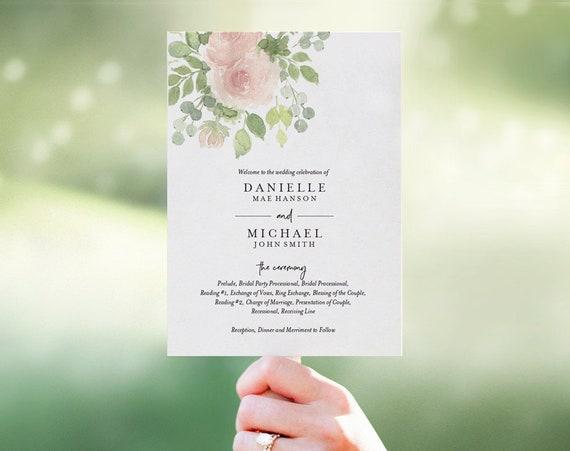 floral wedding program fan wedding program template fan etsy