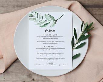 Greenery Wedding Menu Template, Wedding Menu Cards, Wedding Menu Sign, Wedding Menu Printable, Greenery, PDF Instant Download #BPB330_4B