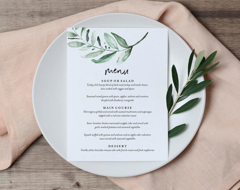Greenery Wedding Menu Template Wedding Menu Cards Wedding image 0