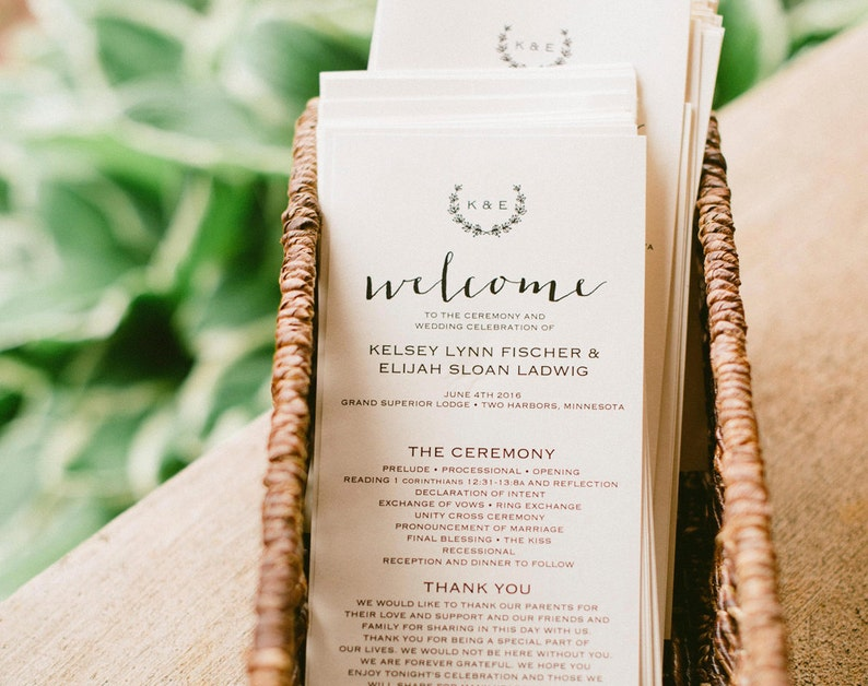 Rustic Wedding Program Template Wedding Program Printable image 0