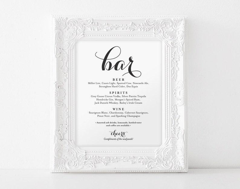 Bar Menu Sign Bar Menu printable Wedding Bar Sign Bar Sign image 0