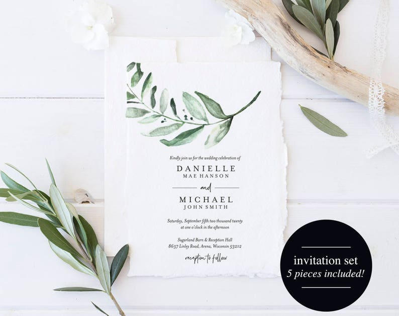 Greenery Wedding Invitation Template Wedding Invite Suite image 0
