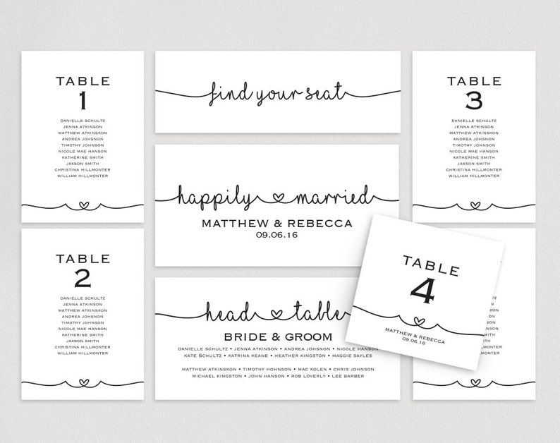 DIY Printable Table Cards Instant Download #BPB140/_5 Wedding Sign PDF Seating Plan Template Seating Cards Wedding Seating Chart