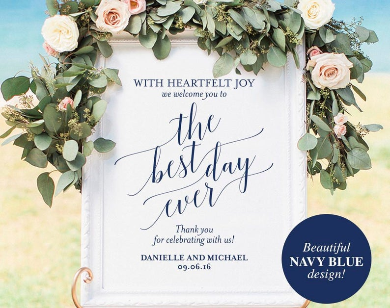 Navy Welcome Wedding Sign Welcome Wedding Printable Best Day image 0