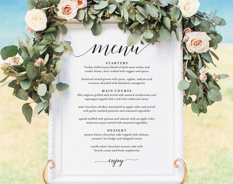 Wedding Menu Sign Wedding Menu Board Wedding Menu Poster image 0