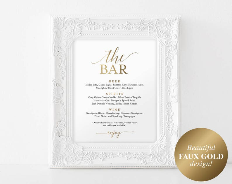 Faux Gold The Bar Sign Bar Menu Sign Bar Menu Wedding Bar image 0