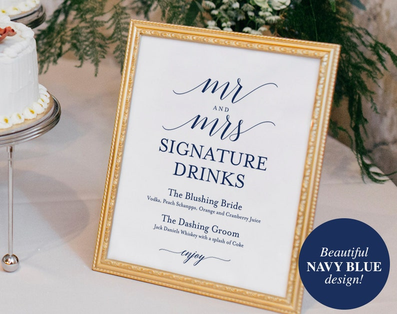 Signature Drinks Printable Signature Drinks Sign Signature image 0