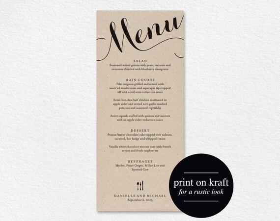 Wedding Menu Printable Template Dinner Menu Printable Etsy