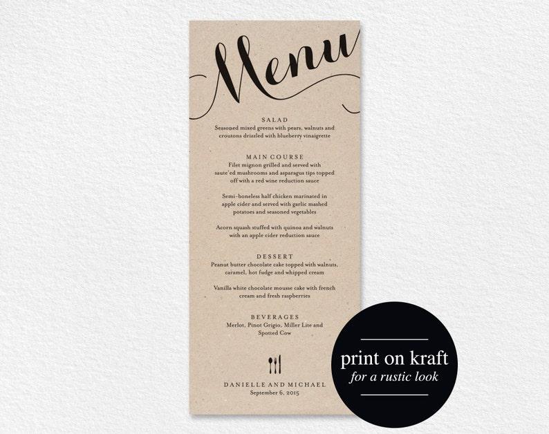 Wedding Menu Printable Template Dinner Menu Printable image 0