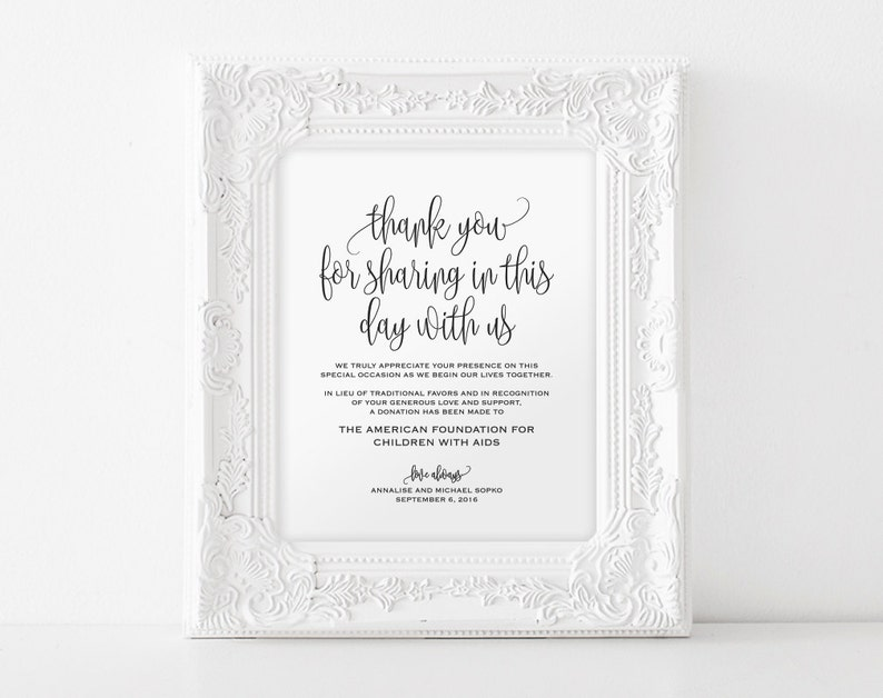 In lieu of wedding favors Sign Wedding Donation Sign Charity image 0