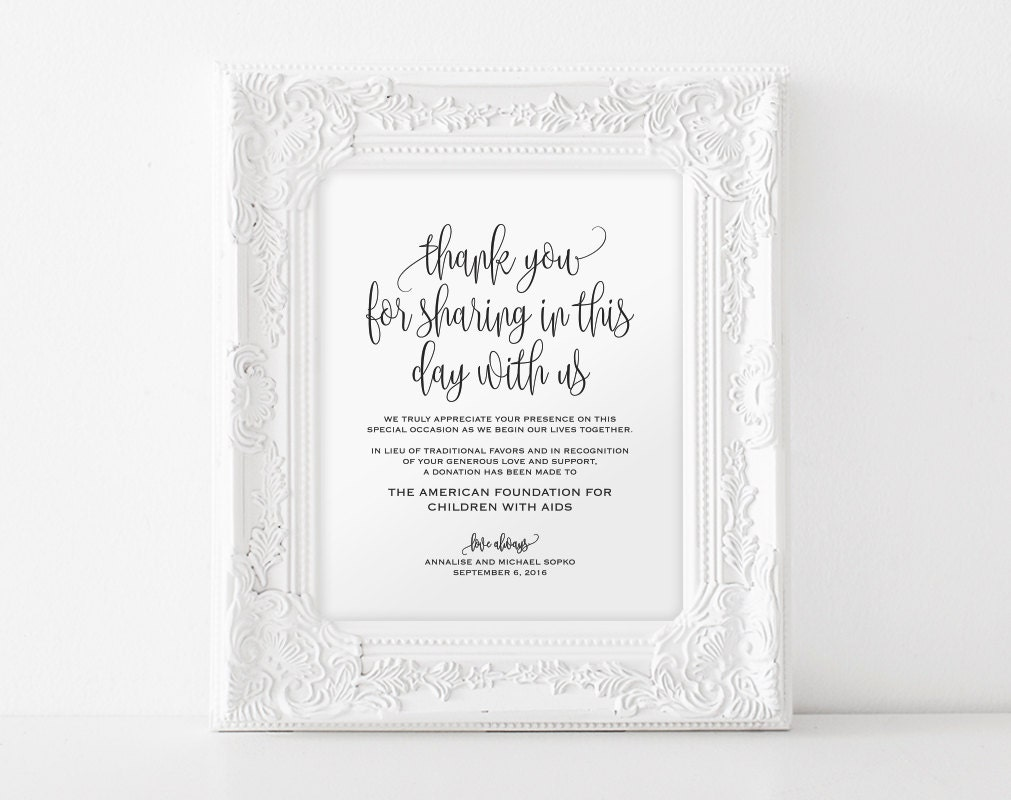 In lieu of wedding favors Sign Wedding Donation Sign Charity