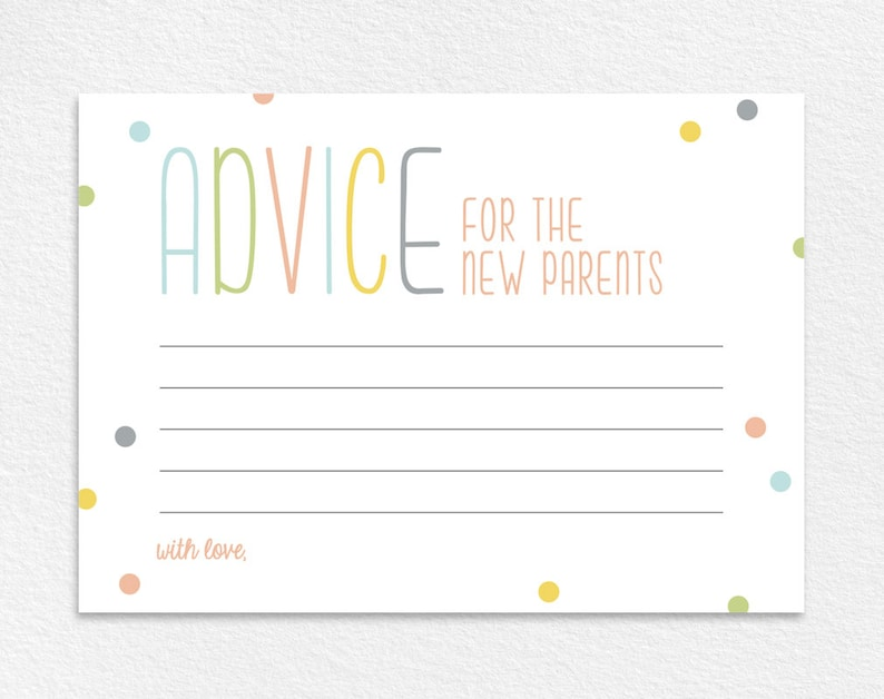 Advice for the New Parents Baby Shower Advice Card Baby image 0