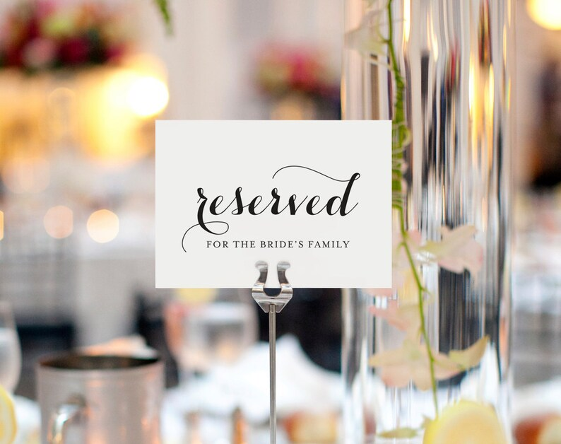 Reserved Printable Reserved Wedding Sign Reserved Table image 0