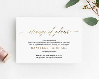 Change of Plans, Wedding Postponed, Faux Gold Postponement 3.5x5 Card Announcement Template, Editable PDF Instant Download #BPB324_90
