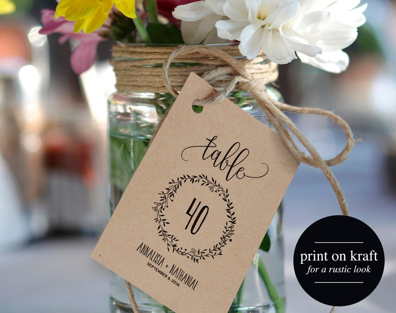 Wedding Table Numbers Printable Table Numbers Rustic Table image 0
