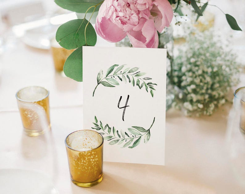 Wedding Table Numbers Printable Table Numbers Greenery Table image 0