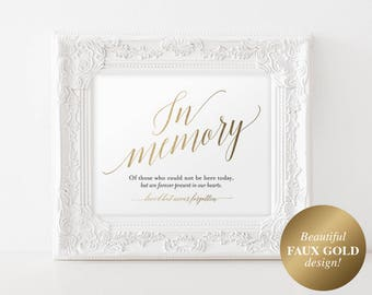 Faux Gold In Memory Sign, In Loving Memory Sign, Memory Sign, Memorial Table Sign, Gold Wedding Sign, PDF Instant Download #BPB324_54
