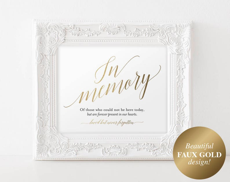 Faux Gold In Memory Sign In Loving Memory Sign Memory Sign image 1