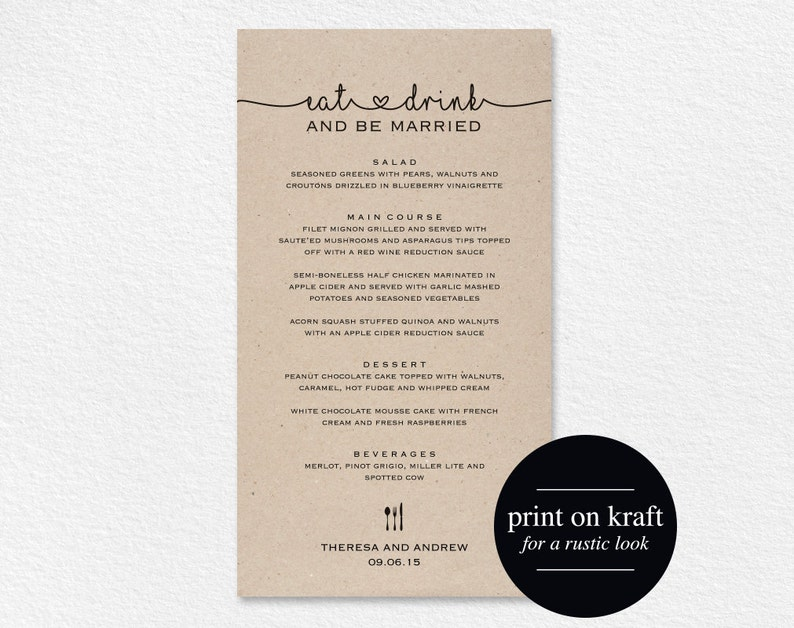 Wedding Menu Printable Wedding Menu Template Wedding Menu image 0