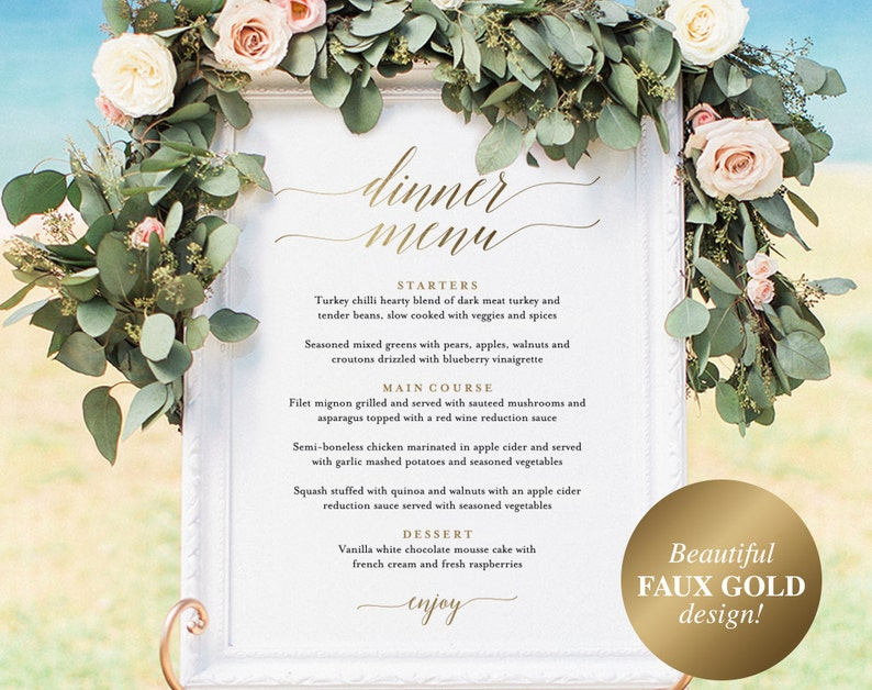 Wedding Menu Sign Wedding Menu Board Dinner Menu Wedding image 1