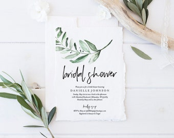 Bridal Shower Invitation Template, Greenery Floral Invitation Printable, Bridal Shower Invite, Editable PDF, Instant Download #BPB330_12