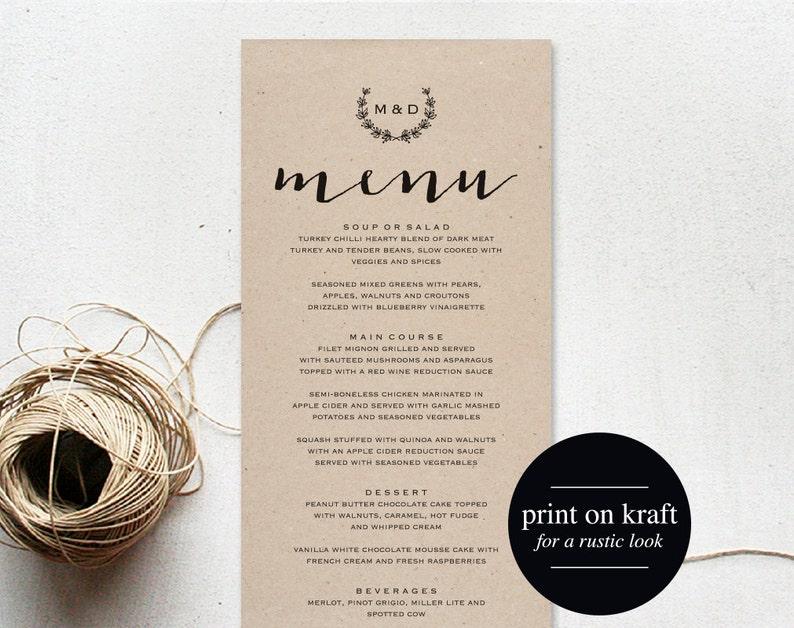 Wedding Menu Printable Wedding Menu Template Printable Menu image 0