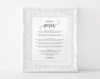 Wedding Menu Sign, Wedding Menu Printable, 8x10 Menu, Menu Printable Sign, Wedding Printable, Editable Menu, PDF Instant Download #BPB202_29