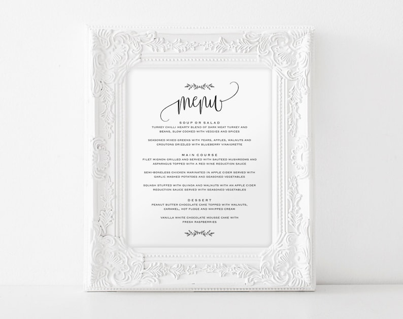 Wedding Menu Sign Wedding Menu Printable 8x10 Menu Menu image 0