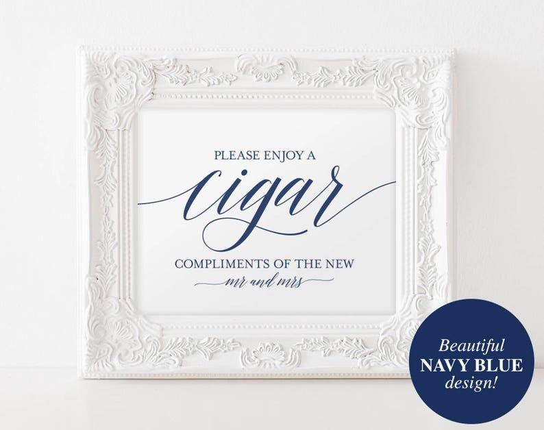 Cigar Bar Sign Cigar Bar Printable Navy Wedding Sign Cigar image 0