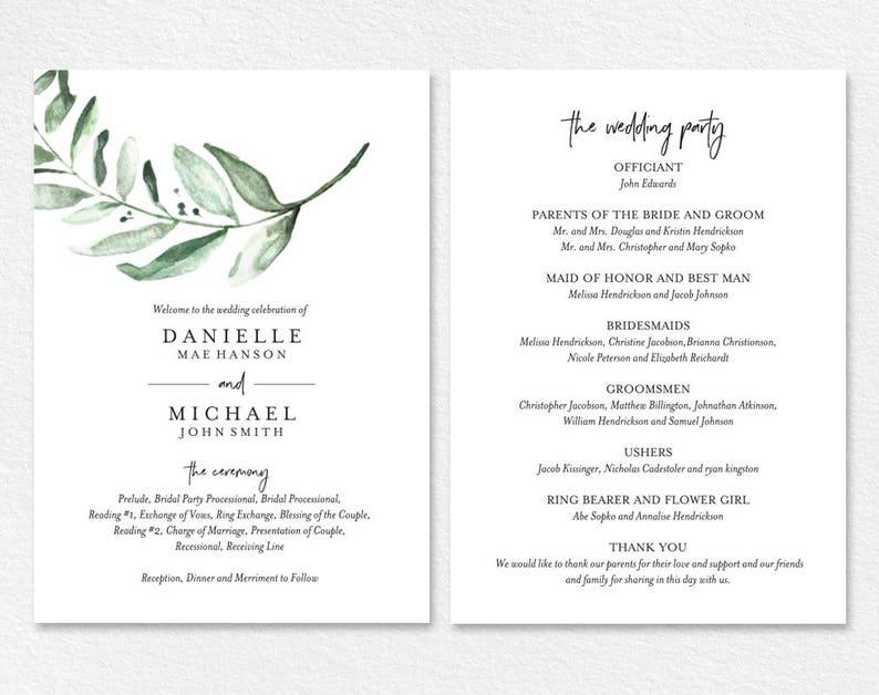 Fan Template Wedding Program Fan Wedding Program Template Bliss Paper Boutique PDF Instant Download #BPB330/_3/_1 Template Download