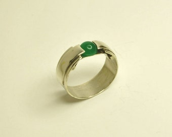 Jade Silver ring with suspended stone