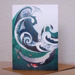 Whale and Wave Card, humpback Whale Print, Nature Lovers Gift