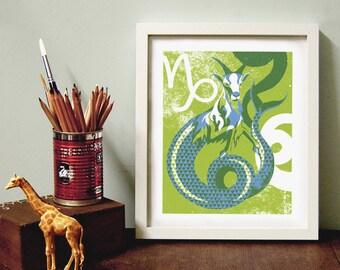 Zodiac Print, Capricorn Star Sign, Capricorn Zodiac, Birthday Gift, Zodiac Wall Art, Star Sign Print, Zodiac Home Decor, Zodiac Poster