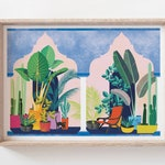 Hacienda Print (landscape), Tropical Plant Illustration, Plant Lovers Gift