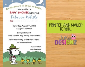 8a18a7554863d7 Snoopy s Camp Out Snoopy Baby Shower invitations and More... (Variety of  Sets Available) Printed and Mailed to you!