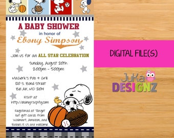 Snoopy baby shower invitations etsy snoopy sport snoopy baby shower invitations and more digital files uprint filmwisefo