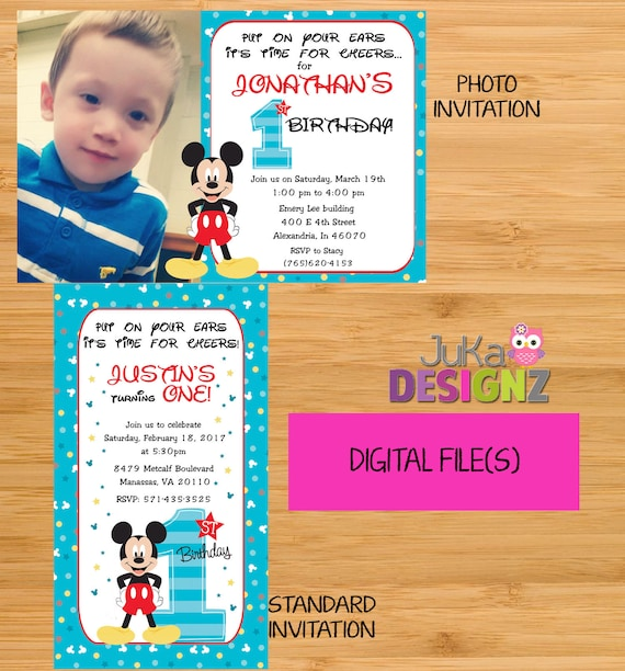 Mickey Mouse 1st Birthday Invitations And More DIGITAL
