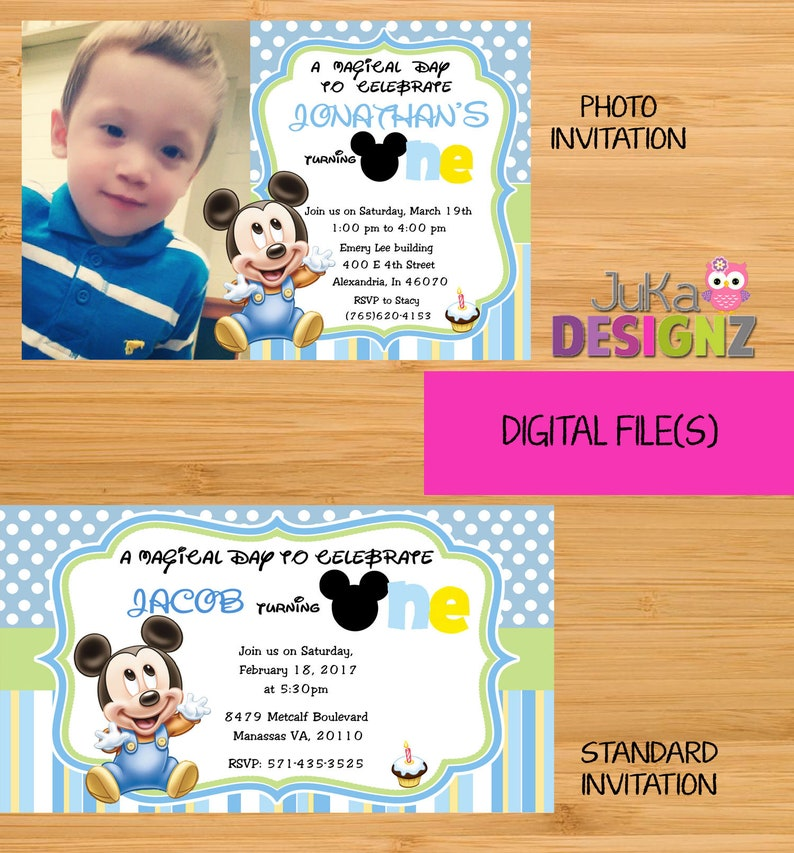 Baby Mickey Mouse 1st Birthday Invitations And More