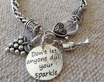 Wine bracelet, wine, sparkle bracelet, wine tasting